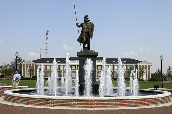 Bronze statue of a Trojan Warrior created by Larry 	Strickland for Troy State University.